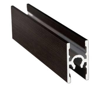 Планка средняя под крепеж, алюминий в ПВХ, венге темный с тиснением, 5900 мм Изображение