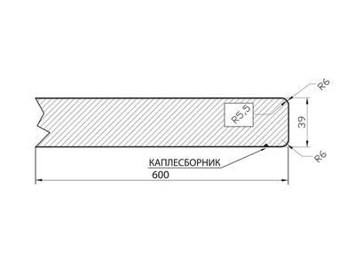Кухонная столешница ALPHALUX, шифон серый, глянец, R6, влагостойкая, 4200*39*600 мм Изображение 2