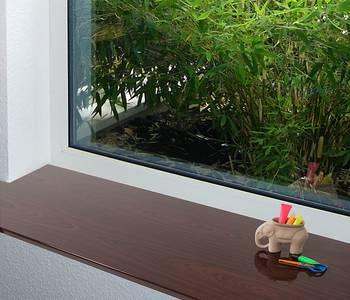 Подоконник пластиковый Moeller 600мм, махагони глянцевый с 2 капиносами Изображение 3