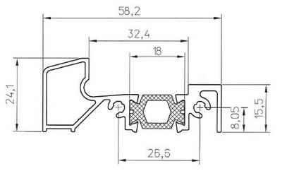 Порог алюминиевый для ПВХ дверей утепленный, (аналог порога Rehau 58х24 мм), 6м Изображение