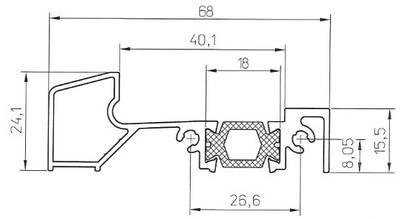 Порог алюминиевый для ПВХ дверей утепленный, (аналог порога Rehau 68х24 мм), 6м Изображение