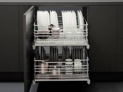 Посудосушитель в нижнюю базу 450мм с поддоном, направляющие плавного закрывания, хром, Vibo Изображение 2