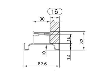 Профиль GOLA Alphalux вертикальный средний(для шкафов из ДСП=16мм) L=4.5м., алюминий Изображение 3