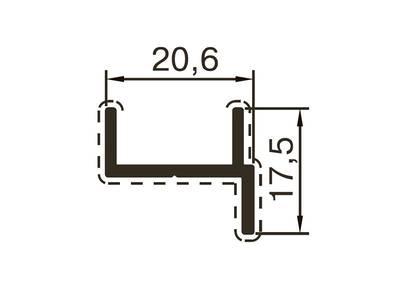Профиль дверной ALUTECH-ALT118 (6 м, RAL9006) Изображение
