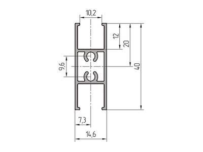 Профиль импоста ALUTECH-ALT111 (4.2 м, RAL9006) Изображение