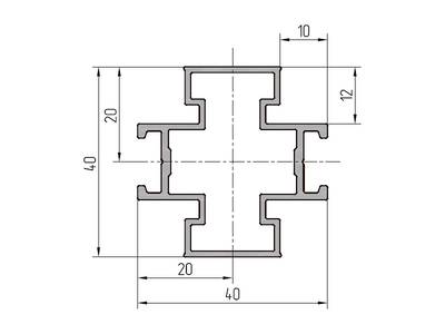 Профиль импоста ALUTECH-ALT111 (6.2 м, RAL9006) Изображение