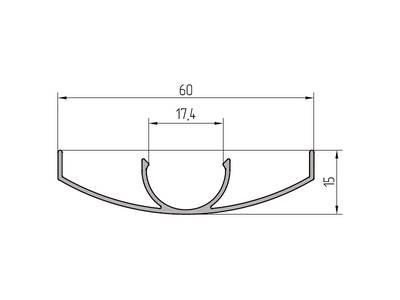 Профиль крышки ALUTECH-ALT111 (6.2 м, RAL9006) Изображение