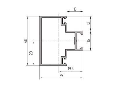 Профиль ригеля ALUTECH-ALT111 (6.2 м, RAL9006) Изображение