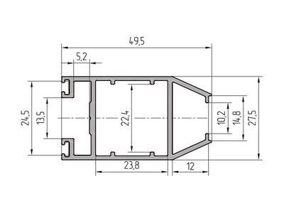 Профиль створки 49.5 мм ALUTECH-ALT111 (6.2 м, RAL9006) Изображение