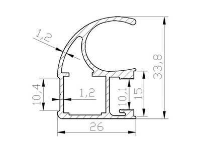 FIRMAX Профиль-ручка асимметричная, алюминий, шампань, 5400 мм Изображение 2
