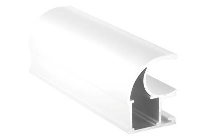 Профиль-ручка асимметричная, алюминий в ПВХ, L=5400 мм, белый глянец. Изображение