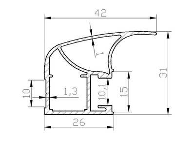 Профиль-ручка асимметричная широкая, FIRMAX, алюминий в ПВХ, L=5400 мм, шелк золото. Изображение 2