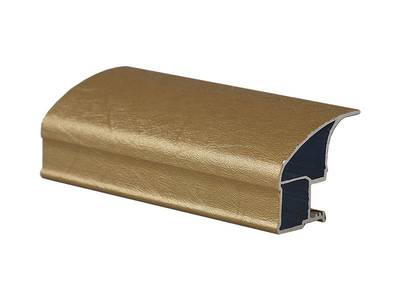 Профиль-ручка асимметричная широкая, FIRMAX, алюминий в ПВХ, L=5400 мм, шелк золото. Изображение