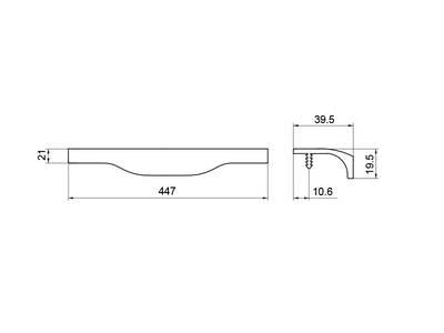 Профиль-ручка, длина 447мм, нержавеющая сталь Изображение 4