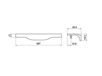 Профиль-ручка, длина 897мм, графит Изображение 4