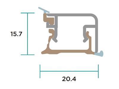 Пристеночный бортик прямоугольный SCILM (15х20 мм, L=3900 мм, алюминий) Изображение 2