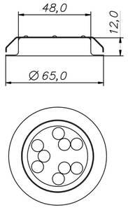 REPLIS-1 LED светильник врезной круглый, хром, 12V, нейтральный белый 5000K, 220Lm, 3W Изображение 3