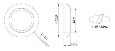 REPLIS-1 LED светильник врезной круглый, хром, 12V, нейтральный белый 5000K, 220Lm, 3W Изображение 2