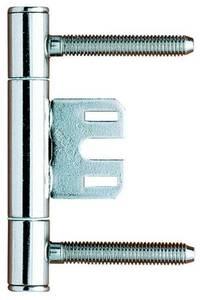 Петля ввертная, 2-штыревая, диаметр 15 мм, с центральной пластиной+стержень с головкой+1 головка, сталь, никелированный Изображение
