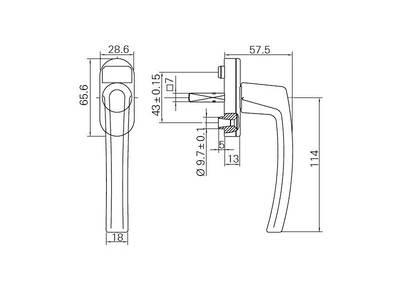 Ручка для окон из ПВХ Roto Line (Штифт=40 мм, 45°, темная бронза) Изображение 2
