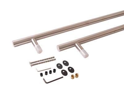 Ручка для алюминиевых дверей со смещением, комплект с креплением L= 1400, м/о 1200, D=32, матов. Изображение