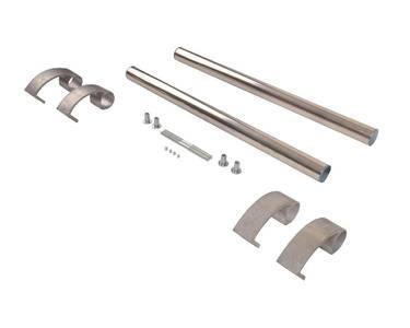 Ручка для алюминиевых дверей из нержавеющей стали, кронштейны неокраш., двухсторон., L=500, D=32 Изображение