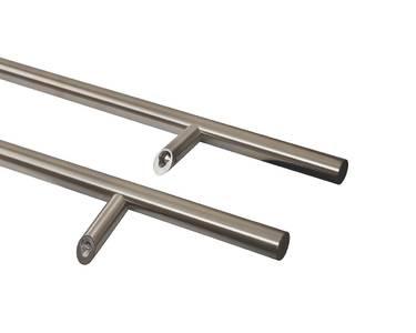 Ручка для алюминиевых дверей со смещением, комплект с креплением, L=1600, межосевое расстояние=1200, D=32, матовая Изображение