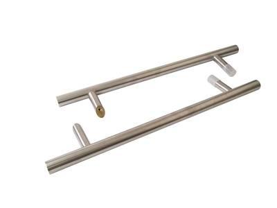 Ручка для алюминиевых дверей со смещением, комплект с креплением, L= 500, м/о= 300, D32, матов. Изображение