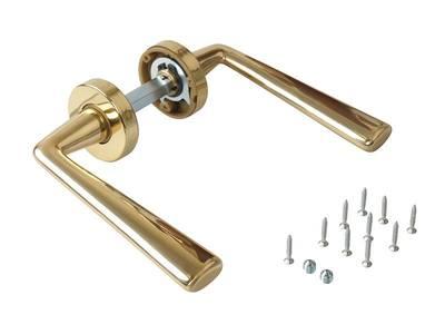 Ручка дверная, латунь, с раздельной круглой накладкой, латунь полированная Изображение