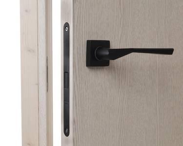 Ручка дверная, с раздельной квадратной накладкой, черная окрашенная матовая Изображение 9