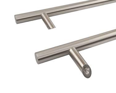 Ручка для алюминиевых дверей со смещением, комплект с креплением, L=1000, межосевое расстояние=800, D=32, 114.SS.800.45, матовая Изображение