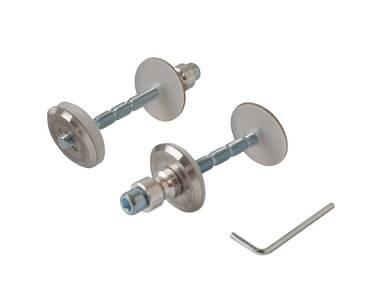 Ручка изогнутая для алюминиевых дверей ELEMENTIS, комплект с креплением, L=382, межосевое расстояние=350, D=32, матовая Изображение 2