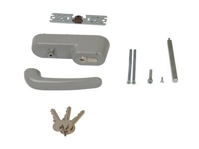 Ручка наружная для системы антипаника с профильным цилиндром (ключом), серебро Изображение 2