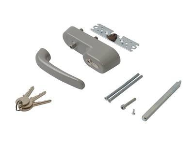 Ручка наружная для системы антипаника с профильным цилиндром (ключом), серебро Изображение