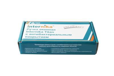 Ручка оконная антибактериальная Internika Titan BioCote, 37 мм, белая, 2 винта Изображение 2