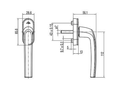 Ручка для окон из ПВХ Roto Samba (Штифт=37 мм, 45°, белый) Изображение 2