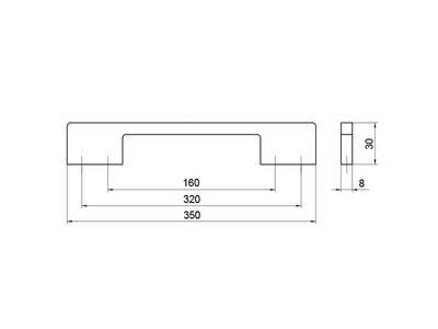 Ручка-скоба 160/320мм, шлифованный никель Изображение 5