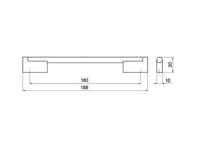 Ручка-скоба 160мм, шлифованный никель Изображение 4