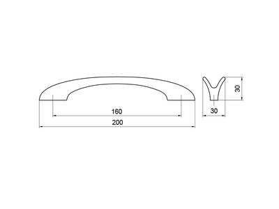 Ручка-скоба 160мм, шлифованный никель Изображение 5