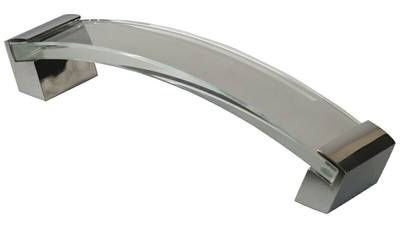 Ручка-скоба 160мм, стекло+металл, хром Изображение