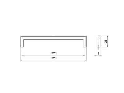 Ручка-скоба 320мм, хром Изображение 5