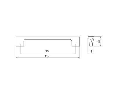 Ручка-скоба 96мм, шлифованный никель Изображение 5