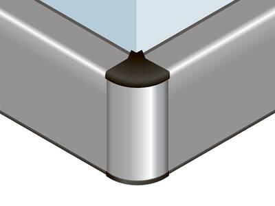 Угловой соед. элемент прямоугольного пристеночного бортика SCILM 90° [внешний угол] (пластик, серый) Изображение