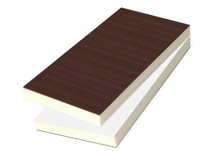 Сэндвич панель матовая Bauset TPL (3000x1300x24 мм, 1.0x1.0 мм, 2-стрн., HPL, махагон/белый [Renolit 2097-013]) Изображение