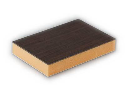 Сэндвич панель матовая Bauset TPL (3000x1300x24 мм, 1.0x1.0 мм, 2-стрн., HPL LG, темный дуб/белый) Изображение
