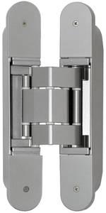 Петля скрытая, 3D, универсальная, 190x31 мм, 120 кг, цамак/алюминий, серебро матовое Изображение