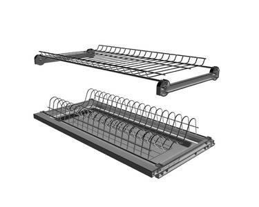 Сушка 2-х уровневая для тарелок/чашек в базу 400мм(для плиты 16мм), с рамой, с пласт. поддоном, хром Изображение