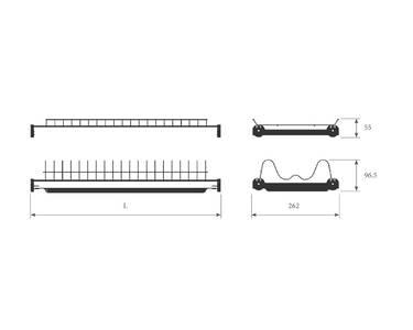 Сушка 2-х уровневая для тарелок/чашек в базу 600мм(для плиты 16мм), без рамы с пласт. поддоном, антрацит Изображение 2