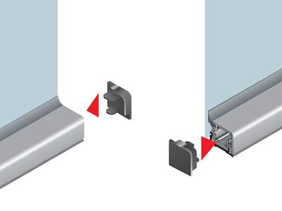 Комплект торцевых заглушек прямоугольного пристеночного бортика SCILM (пластик, серый) Изображение