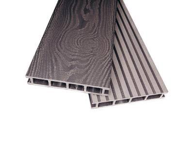 Террасный профиль двухсторонний Комфорт крупный вельвет с брашингом/текстура дерева серый 25х145х6000 мм (0.87 кв.м.) Изображение